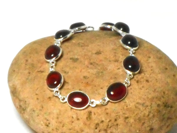 Oval Red Garnet Gemstone Sterling Silver 925 Bracelet