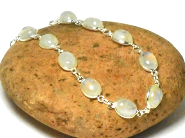 Oval Moonstone Gemstone Sterling Silver 925 Bracelet