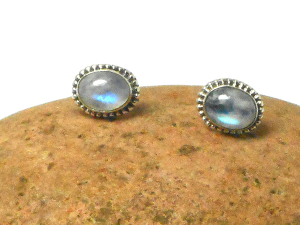 MOONSTONE Oval Shaped Sterling Silver Stud Earrings 925 - 8 x 10 mm