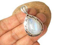 Teardrop shaped MOONSTONE Sterling Silver 925 Gemstone Pendant