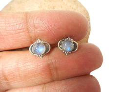Fiery Round MOONSTONE Sterling Silver Gemstone Stud Earrings 925 - 5 mm