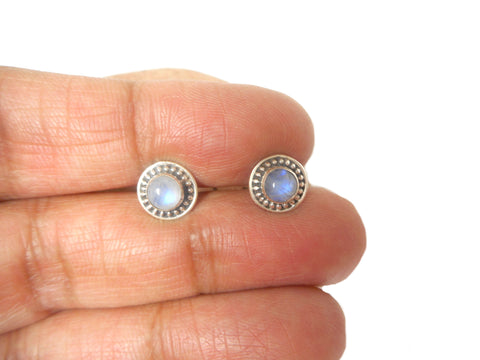 Round Shaped MOONSTONE Sterling Silver Stud Earrings 925-5 mm