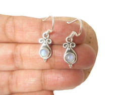 Round shaped MOONSTONE Sterling Silver 925 Gemstone Earrings 925