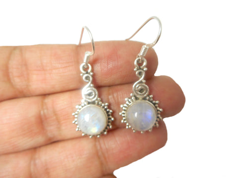 Fiery Round shaped MOONSTONE Sterling Silver 925 Gemstone Earrings 925