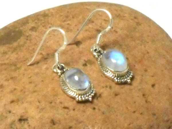 Oval shaped MOONSTONE Sterling Silver 925 Gemstone Earrings 925