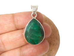 Green Teardrop shaped EMERALD Sterling Silver 925 Gemstone Pendant