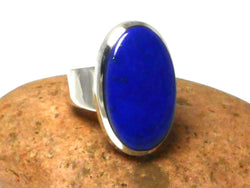 Grade 'A' Oval Blue  LAPIS LAZULI Sterling Silver Gemstone Ring 925  -  Size: S