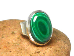 Oval Malachite Sterling Silver 925 Gemstone Ring -  Size: R