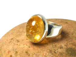 Oval Citrine Sterling Silver 925 Gemstone Ring - Size S