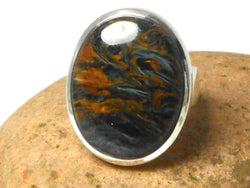Grade 'A' Oval Pietersite Sterling Silver 925 Gemstone Ring - Size: R
