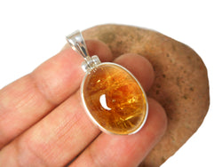 Oval Citrine Sterling Silver 925 Gemstone Pendant