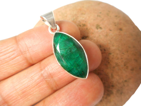 Green Marquise  EMERALD Sterling Silver 925 Gemstone Pendant