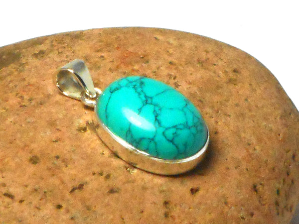 Blue Oval TURQUOISE Sterling Silver 925 Gemstone Pendant