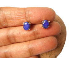 Blue Women's Oval SAPPHIRE Sterling Silver Stud Earrings 925 - 5 x 7 mm