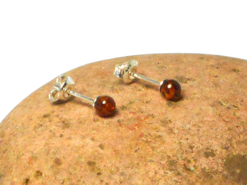 Cognac AMBER Sterling Silver Gemstone Round Stud Earrings 925 -  4 mm