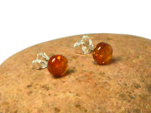 Cognac AMBER Sterling Silver Gemstone Round Stud Earrings 925 - 7 mm