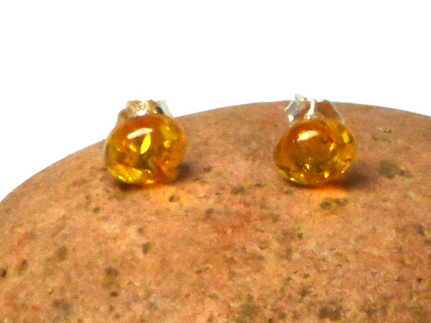 AMBER Sterling Silver Gemstone Oval Stud Earrings 925  - 7 x 9 mm