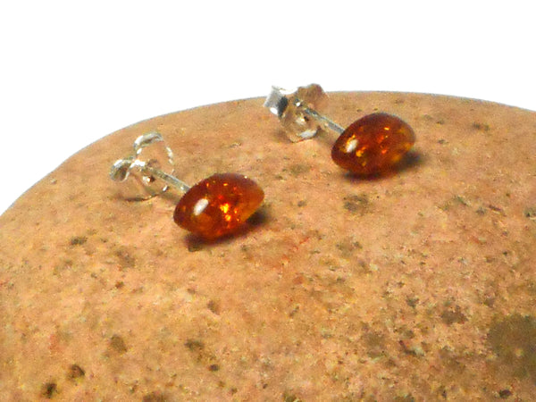 Marquise Shaped AMBER Sterling Silver Gemstone Stud Earrings 925  - 5 x 9 mm