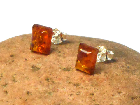 Rectangular Shaped AMBER Sterling Silver Gemstone Stud Earrings 925  - 7 x 9 mm