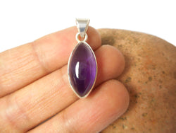 Marquise Shaped Purple AMETHYST Sterling Silver 925 Gemstone Pendant