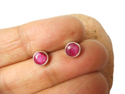 Pink Round Shaped RUBY Sterling Silver 925 Gemstone Stud Earrings - 5 mm