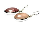 Oval ROSE QUARTZ Sterling Silver 925 Gemstone Earrings - (RQE0806172)
