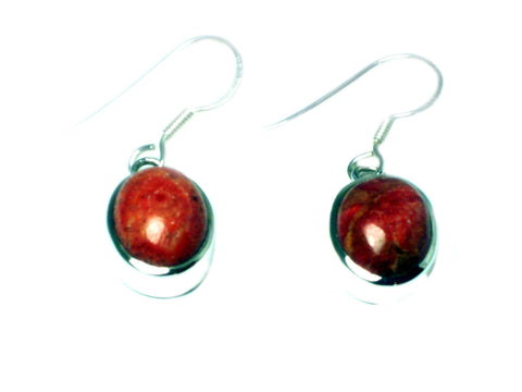Sponge CORAL Sterling Silver 925 Oval Earrings - (SCE0806171)