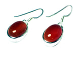 CARNELIAN Sterling Silver 925 Oval Gemstone Earrings - (CNE0806171)