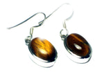 TIGER'S EYE Sterling Silver 925 Gemstone Oval Earrings