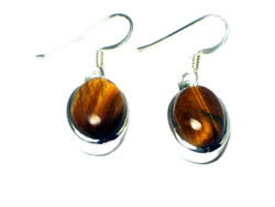 TIGER'S EYE Sterling Silver 925 Gemstone Oval Earrings - (TEE0806171)