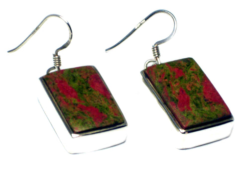 Chunky UNAKITE Sterling Silver 925 Gemstone Earrings