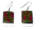 Chunky UNAKITE Sterling Silver 925 Gemstone Earrings - (UNE0806171)