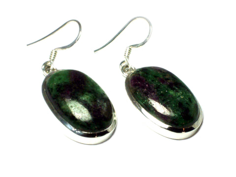 RUBY ZOISITE Sterling Silver 925 Gemstone Earrings