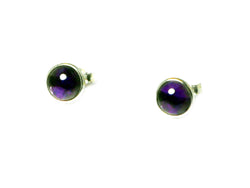 AMETHYST Round Sterling Silver Gemstone Earrings / Studs 925