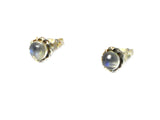 Round MOONSTONE Sterling Silver Gemstone Stud Earrings 925