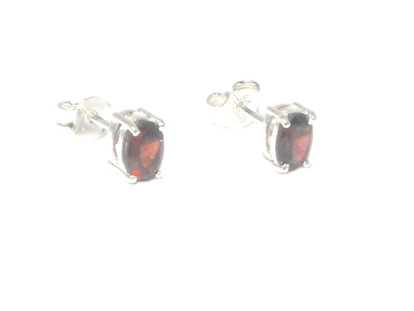 GARNET Sterling Silver Gemstone Oval Earrings / Studs - 5 x 7 mm