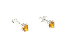 Round CITRINE Sterling Silver Gemstone STUD Earrings / STUDS 925 - 5 mm