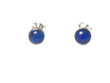 Afghanistani LAPIS LAZULI Round Sterling Silver Earrings / Studs 925 - 6 mm - Gift Boxed