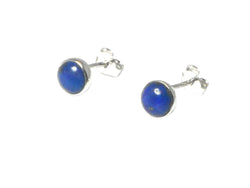 Afghaniatani LAPIS LAZULI Round Sterling Silver Earrings / Studs 925 - 6 mm