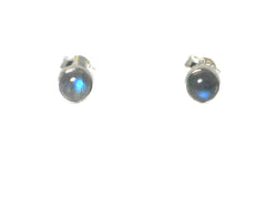 LABRADORITE Round Shaped Sterling Silver Gemstone Earrings / Studs 925 - 5 mm