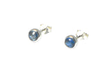 Round KYANITE Sterling Silver 925 Gemstone Earrings / STUDS - 5 mm