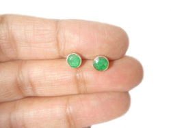 EMERALD Sterling Silver 925 Gemstone STUD / Earrings - 5 mm