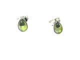 PERIDOT pear shaped Sterling Silver 925 Gemstone Earrings / STUDS - 5 x 7 mm