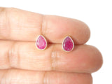 RUBY pear shaped Sterling Silver 925 Gemstone STUD / Earrings - 5 x 7 mm