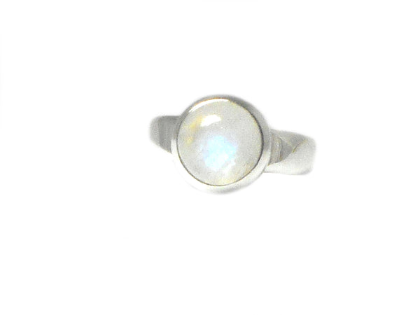 Round Moonstone Sterling Silver 925 Gemstone Ring
