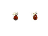 Cognac AMBER Sterling Silver Gemstone Teardrop Stud Earrings 925  -  4 x 6 mm