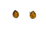 Green AMBER Sterling Silver Gemstone Teardrop Stud Earrings 925  - 8 x 10 mm