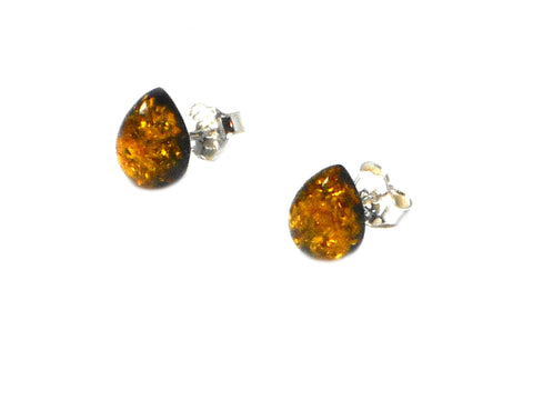Green AMBER Sterling Silver Gemstone Earrings / Studs 925