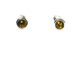 Green AMBER Sterling Silver Round Stud Earrings 925 - 7 mm