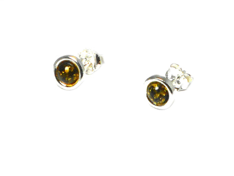 Green AMBER Sterling Silver Earrings / Studs 925 - 7 mm
